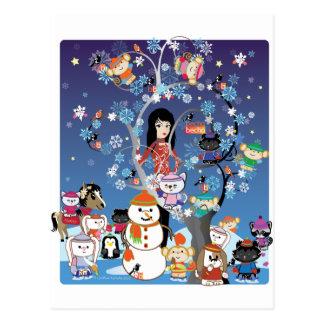 Postal del collage del invierno de Kitsu