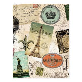 Postal del collage del viaje del vintage