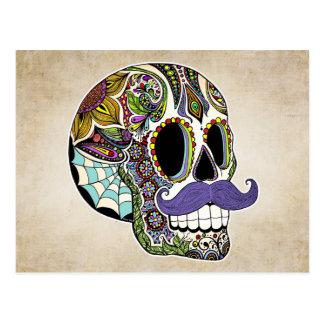 Postal del color del cráneo del azúcar del bigote