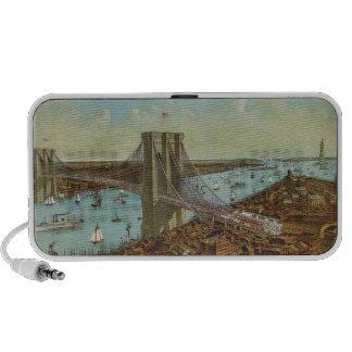 Postal del color del puente de Brooklyn Altavoces De Viajar