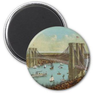 Postal del color del puente de Brooklyn Imán Redondo 5 Cm