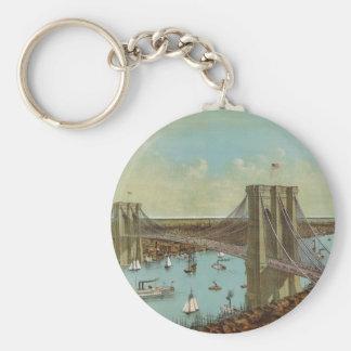 Postal del color del puente de Brooklyn Llavero Redondo Tipo Pin