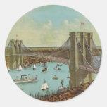 Postal del color del puente de Brooklyn Etiquetas Redondas