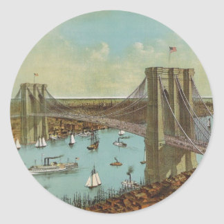 Postal del color del puente de Brooklyn Pegatina Redonda