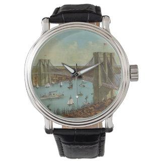 Postal del color del puente de Brooklyn Reloj