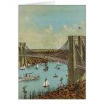 Postal del color del puente de Brooklyn Felicitacion