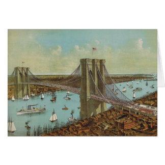 Postal del color del puente de Brooklyn Tarjeta De Felicitación