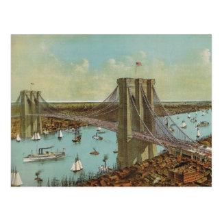 Postal del color del puente de Brooklyn