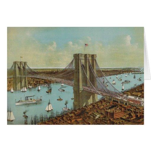 Postal del color del puente de Brooklyn Tarjetón