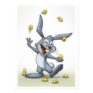 Postal del conejo que hace juegos malabares