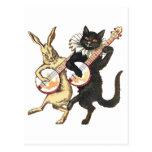 Postal del conejo y del gato