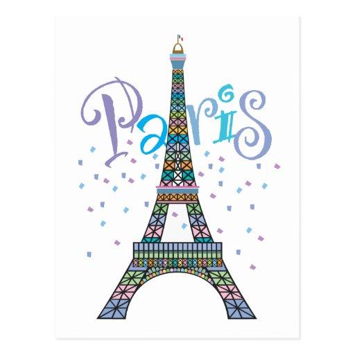 Postal del confeti de la torre Eiffel