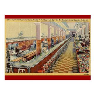 postal del contador del almuerzo de Woolworth del