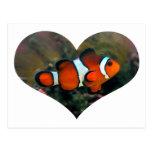 Postal del corazón de Clownfish