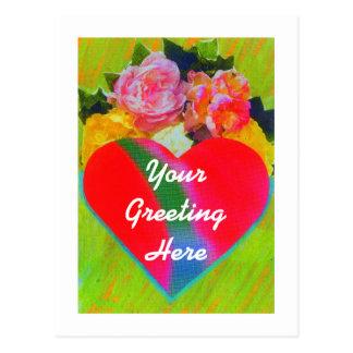 Postal del corazón de la flor