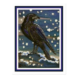 Postal del cuervo de la nieve