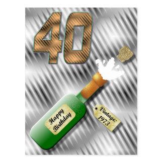 Postal del cumpleaños de la botella de Champán que