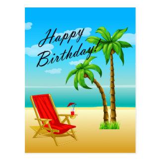 Postal del cumpleaños de la escena de la playa