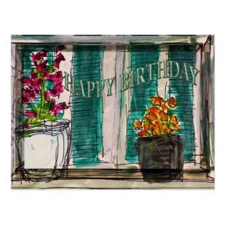 Postal del cumpleaños de las macetas