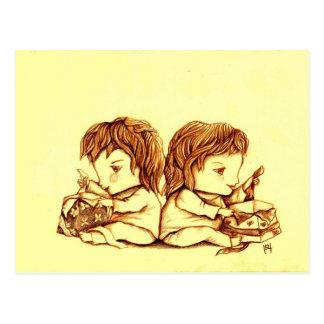 Postal del cumpleaños de los gemelos, por Lyn Hurr