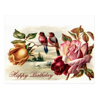 Postal del cumpleaños de los rosas del pájaro del