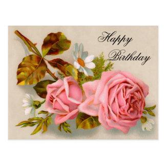 Postal del cumpleaños de los rosas del vintage