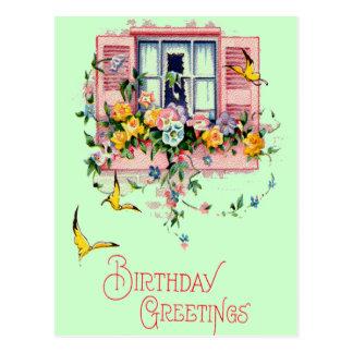 Postal del cumpleaños de los saludos del vintage