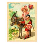 Postal del cumpleaños del burro del vintage