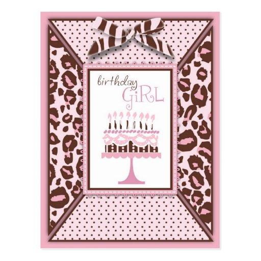 Postal del cumpleaños del chica del guepardo