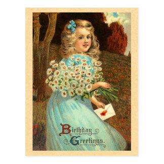 Postal del cumpleaños del chica del vintage