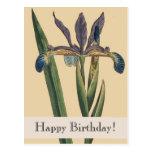 Postal del cumpleaños del iris de Botanicals del