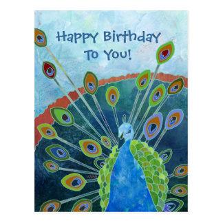 Postal del cumpleaños del pavo real