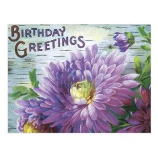 Postal del cumpleaños del vintage con las flores