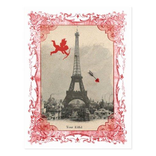 Postal del Cupid del vintage de París