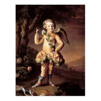 Postal del Cupid del vintage y de la tarjeta del d