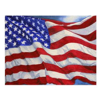 Postal del ~ de la bandera americana