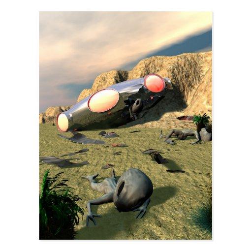 Postal del desplome del UFO de Roswell