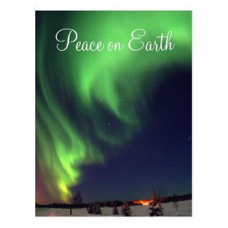 Postal del día de fiesta de la aurora boreal