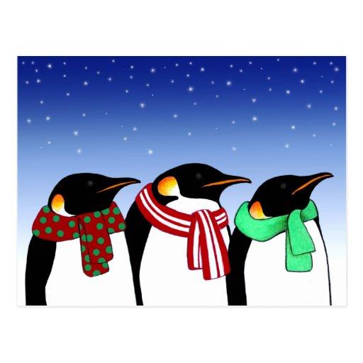 Postal del día de fiesta de los pingüinos del navi