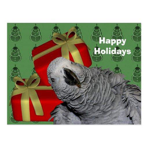 Postal del día de fiesta del navidad del loro del