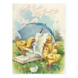 Postal del día de fiesta del polluelo de Pascua de
