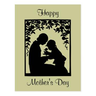 Postal del día de madre de la madre y del niño de