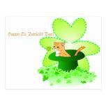 Postal del día de St Patrick del gato