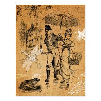 Postal del día lluvioso del vintage