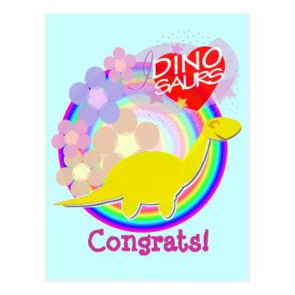 Postal del dibujo animado del dinosaurio de la flo