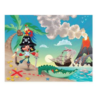 Postal del dibujo animado del pirata