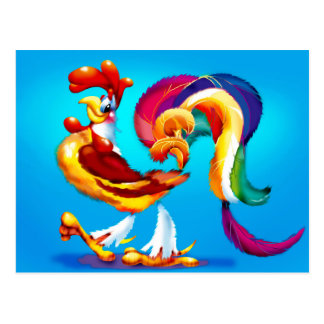 Postal del dibujo animado del pollo