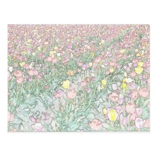 Postal del dibujo de la mano de los tulipanes
