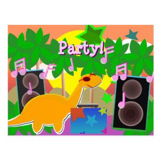 Postal del dinosaurio de DJ del fiesta