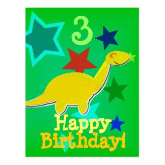 Postal del dinosaurio de la estrella del feliz cum